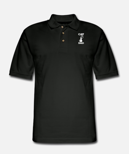 black polo cat dad shirt