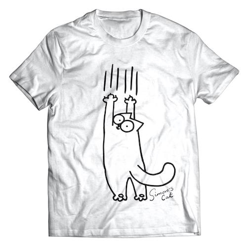 white Simon's Cat illustration shirt