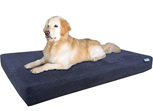 dog lying on navy blue Dogbed4less bed