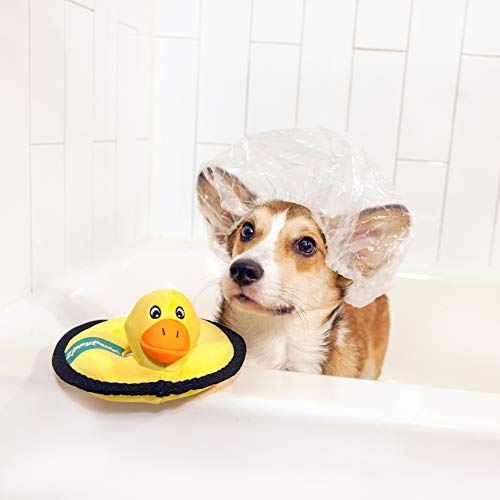 dog in bath with ZippyPaws duck floating ring