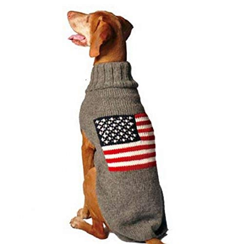 dog wearing Chilly Dog gray wool sweater with American flag on back