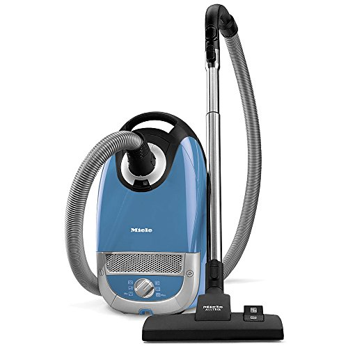 blue Miele canister vacuum for hardwood floors and dog hair