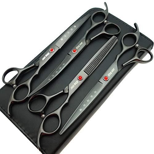 black Kingstar titanium-coated four-piece scissor set