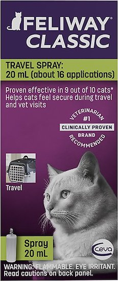 Feliway cat calming pheromones travel spray