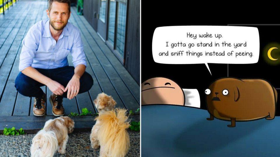 Matthew Iman, his dogs, and a comic strip panel