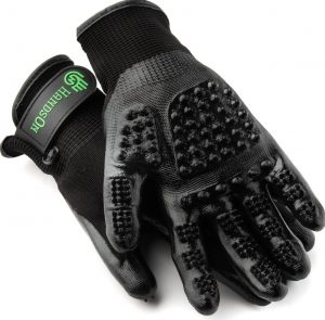 black HandsOn all-in-one dog grooming gloves