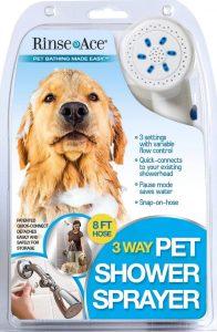 Rinse Ace three-way dog shower head