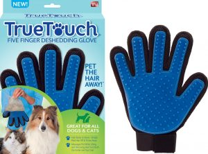 blue True Touch grooming glove