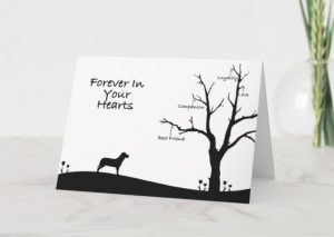 card with silhouette of dog looking at tree with words