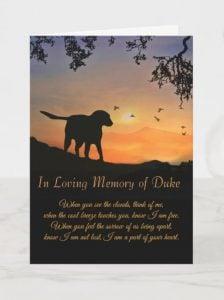 Custom name dog sympathy card