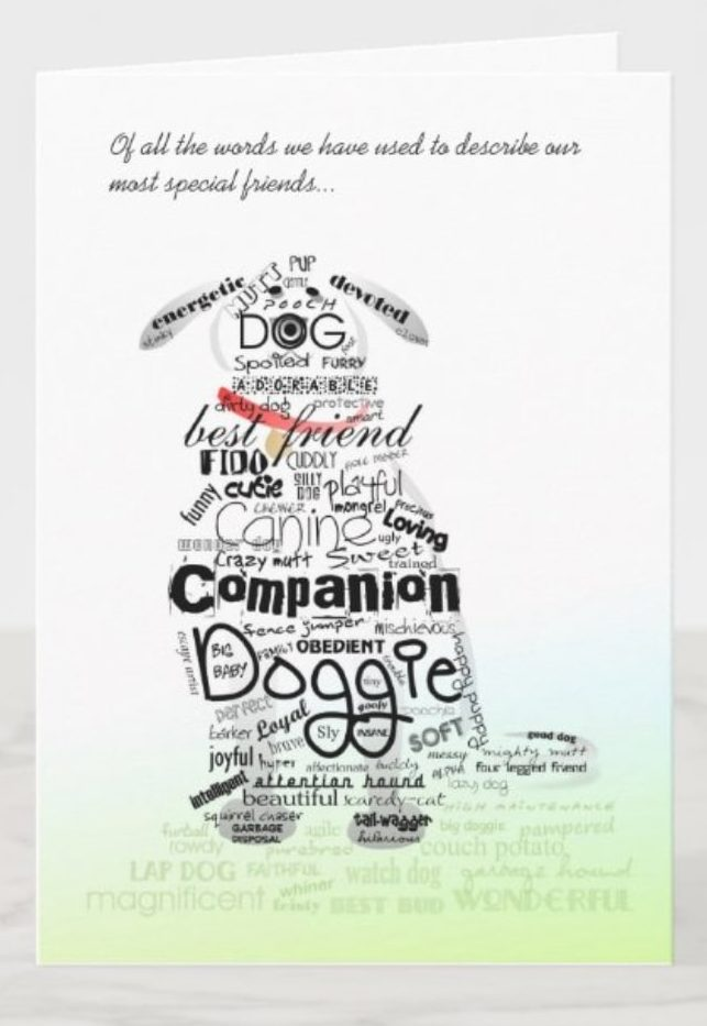 card with dog silhouette and pet-themed words printed on it
