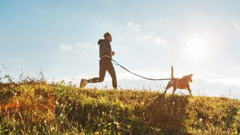 person running outside with dog on leash attached to belt