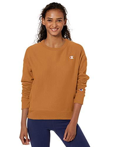 woman wearing mustard Champion crew sweatshirt