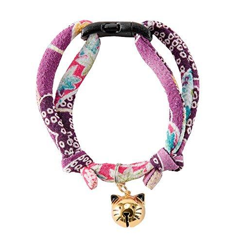 Necoichi chirimen fabric collar with cat-head shape bell