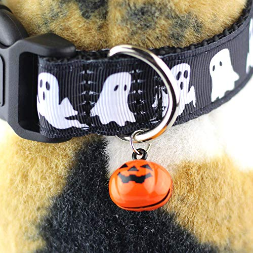 Bolbove ghost print Halloween dog collar with bell
