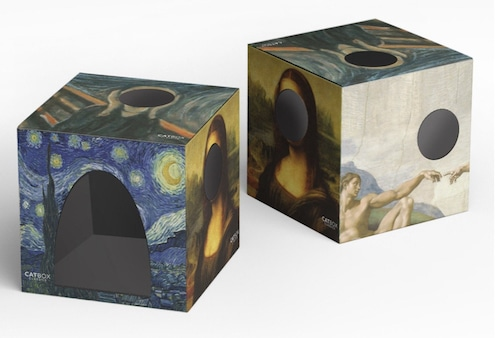 cardboard cat house with artworks on each side