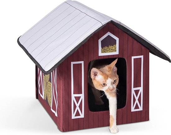 kitty walking out of K&H outdoor barn-themed cat house