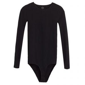 seamless black long-sleeve bodysuit
