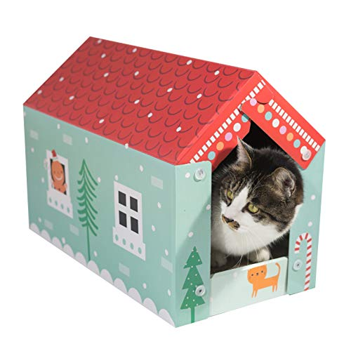 Pawnie cardboard cat house scratcher and pad