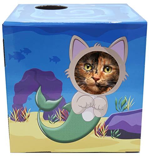 Mermaid-themed cardboard cat house