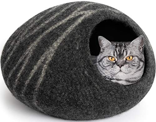 cat in gray felted wool cave