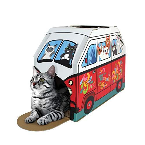 cat lying in camper van themed den
