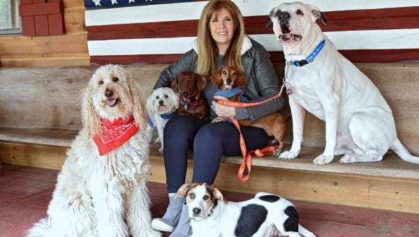 Jill Rappaport and her rescue dogs