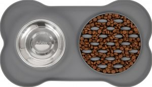 Frisco silicone slow feeder mat with two bowls