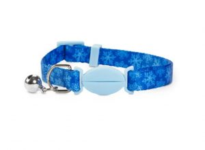 Holiday Tails blue breakaway cat collar with snowflake print
