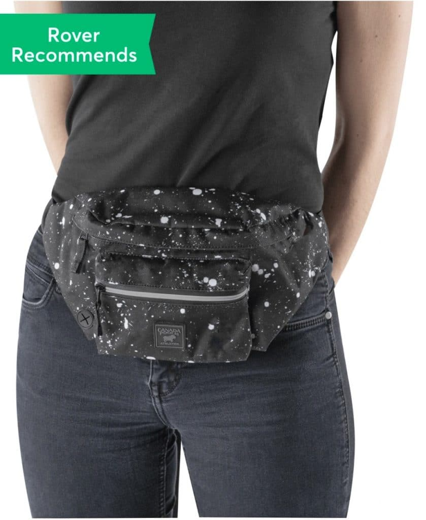 Canada Pooch dog mom gift fanny pack, black with white splotches