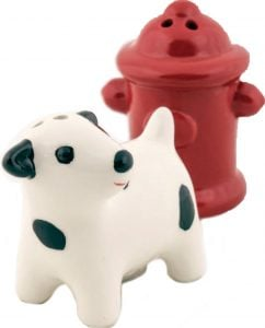 dog and hydrant salt and pepper shakers