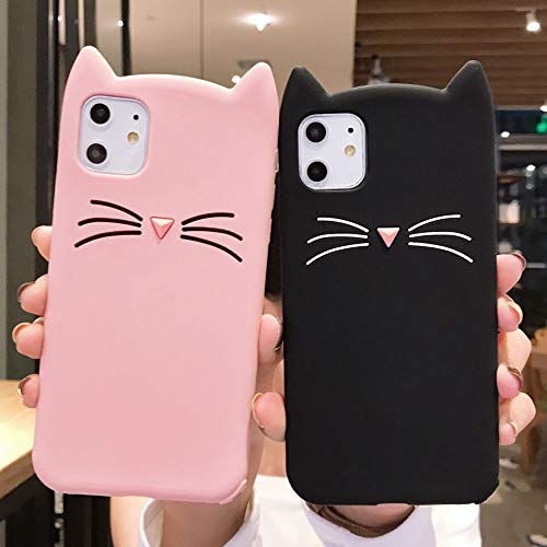 Lchulle cute pink and black cat iPhone gift cases