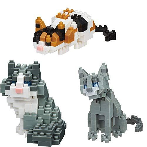 nanoblocks shaped like cats, set of three
