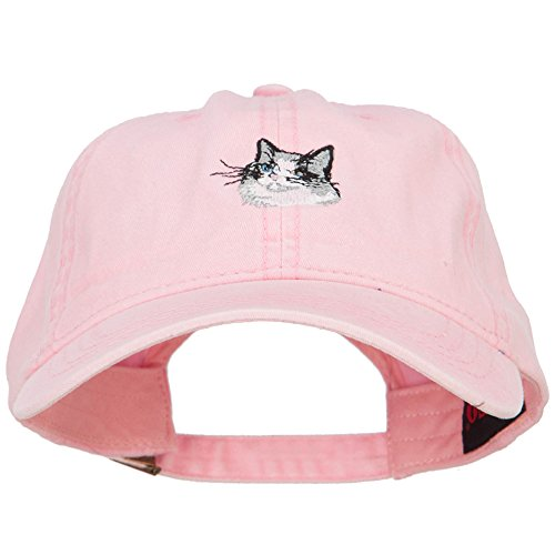 pink ball cap with Ragdoll cat embroidery