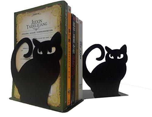 metal cat bookends