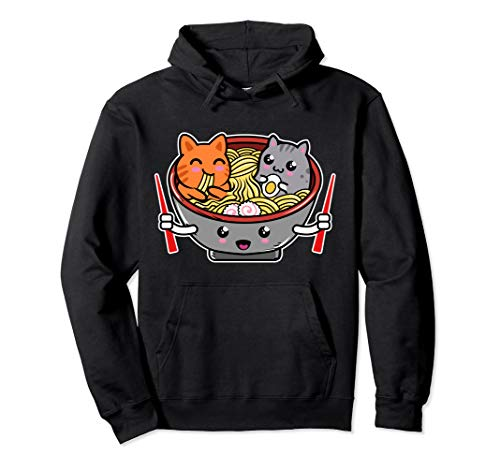 sweatshirt with cartoon cats eating ramen in bowl