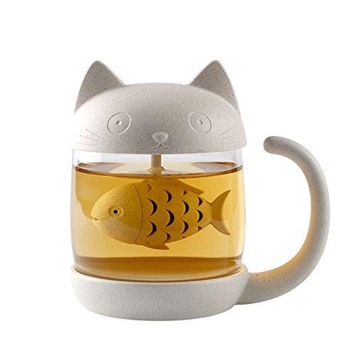 fish-shaped tea infuser inside cat-shaped mug