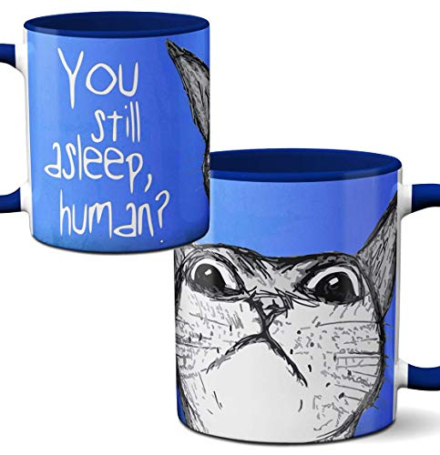 cat mom gift blue mug with cat image and text