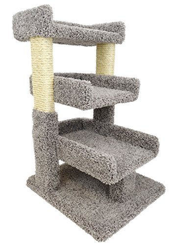gray cat tree and scratcher