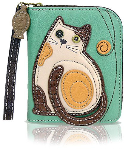 Chala zip-around walled with cat embroidery detail gifts for cat moms