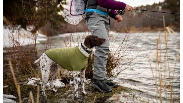 dog outside in green fleece Ruffwear coat