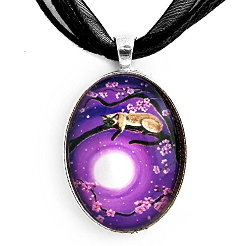 purple glass pendant on black ribbon