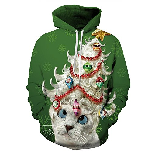 sweatshirt with cat and ornaments print