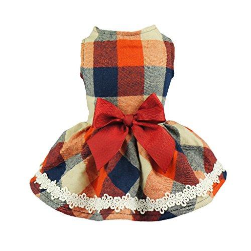 Fitwarm plaid dog dress with bow