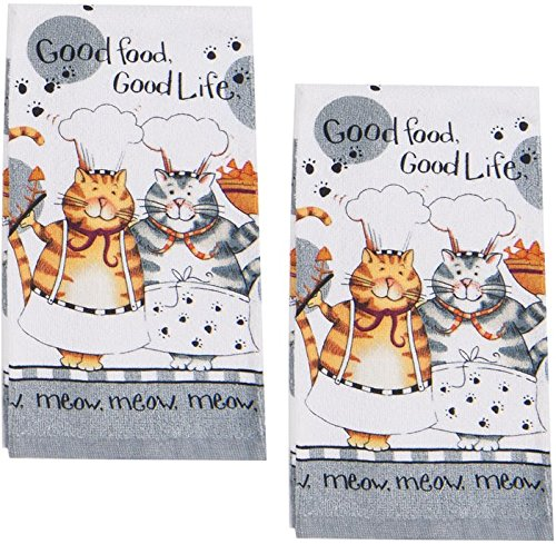 happy cats set of two kitchen towels for tabby cat lovers
