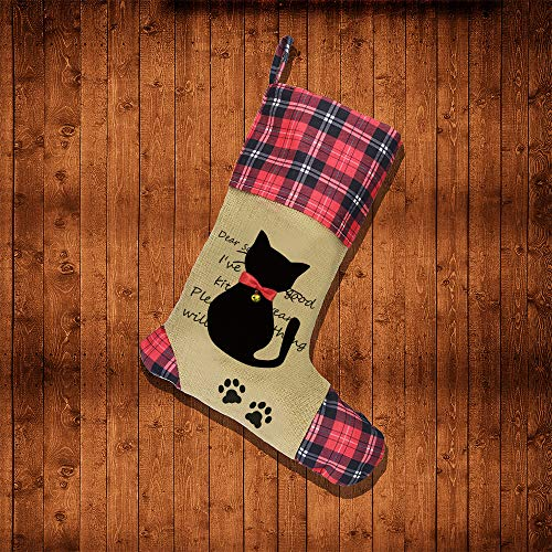 plaid and brown stocking with black cat