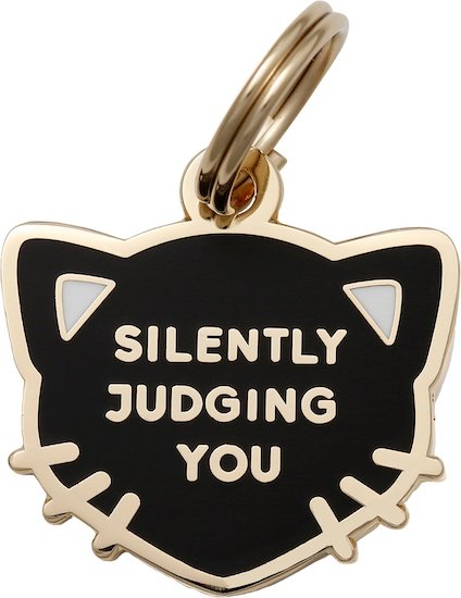 """""""Silently judging you"""" text on black tag shaped like cat head"""