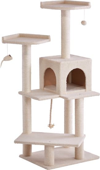 beige cat tree and condo with toys