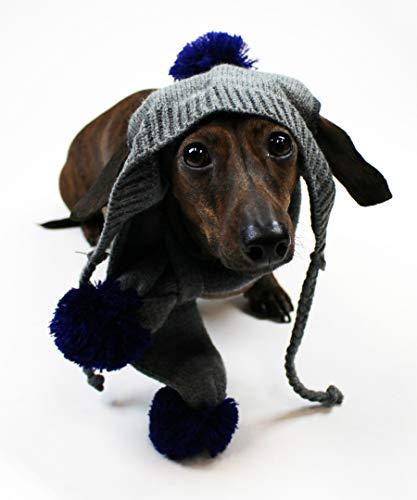 Midlee Pom Pom winter dog hat and scarf