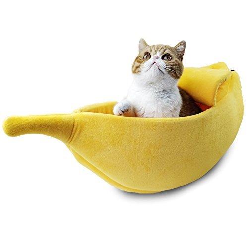 cama para gatos en forma de banana